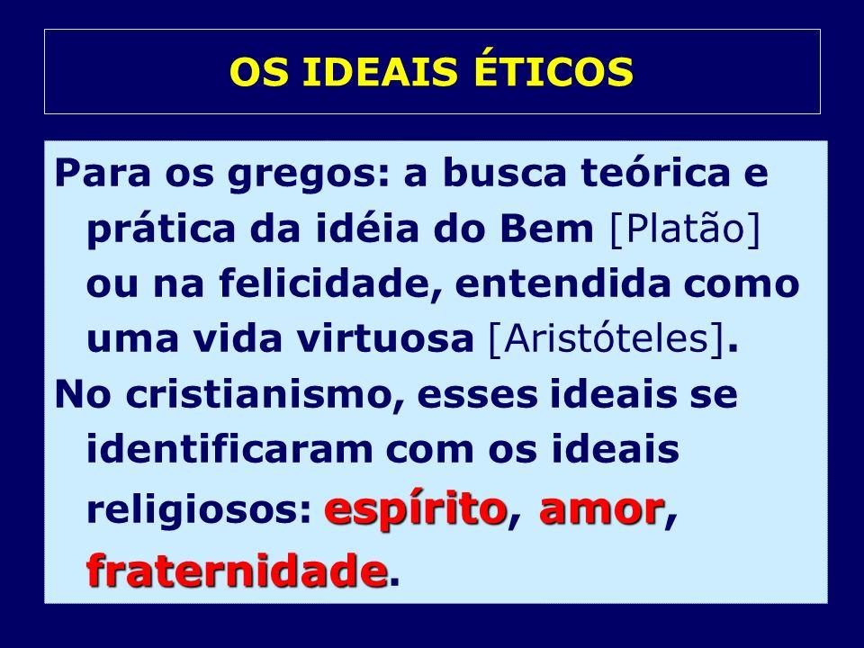 OS IDEAIS ÉTICOSPara os gregos: a busca teórica e prática da idéia do Bem [Platão] ou na felicidade, entendida como uma vida virtuosa [Aristóteles].